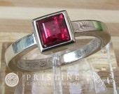 Gold Ruby Ring in Square Cut Ruby in 14k White Gold Bezel Set Solitaire July Birthstone Gemstone Ring