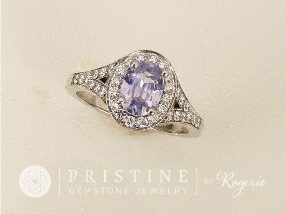 RESERVED Final Payment on Lavender Purple  Sapphire Engagement Ring in White Gold Diamond Halo Split Shank Gemstone Engagement Ring