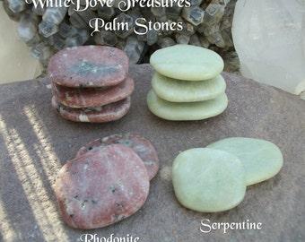 "Rhodonite Palm Stone 3""x2"" Serpentine Palm Stone XXL - Polished Flat Massage Meditation Crystal Yoga Kundalini Rising Reiki Chakra Sea Salt"