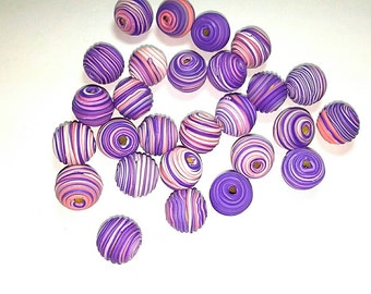 10 Fimo Polymer Clay Fimo Beads Round Spiral purple violet color 14mm