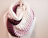 Infinity scarf, Winter scarf, Knit scarf, Crochet scarf, chunky knit scarf, The Abington warmer in strawberry shortcake