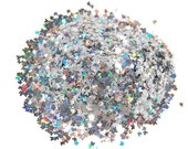 Silver Butterfly SOLVENT RESISTANT Holographic Glitter BUTTERFLIES - 1 Fl. Ounce Glitter Nail Art, Glitter Nail Polish and Glitter Crafts