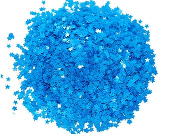 Blue SOLVENT RESISTANT Glitter STARS - 1 Fl. Ounce for Glitter Nail Art, Glitter Nail Polish and Glitter Crafts