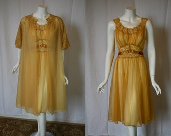 1950s Vanity Fair Gold Peignoir Set, 34, medium, nightgown, robe,  Double Nylon Chiffon