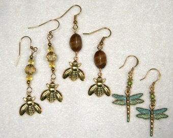 Bee Honey Amber Dragonfly Gold Insect Earrings