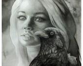 Raven Art Black and White Art Print