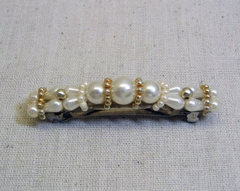 Creamy Plastic Pearl and Gold Bead Vintage Hair Barrette