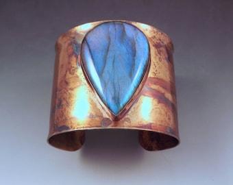 Electric Blue Labradorite Teardrop- Rainbow Swirl Patina- Metal Statement Cuff Bracelet
