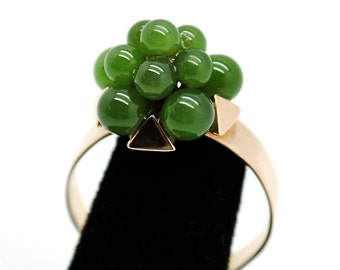 Vintage 14K Gold - Jade Cluster Cocktail Ring - Free Shipping