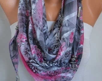 30% OFF - Gray & Pink Floral Pendant Cotton Scarf,Necklace Cowl Anchor Scarf Gift Ideas For Her Women's Fashion Accessories Gift for Her