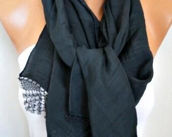 Black Scarf Shawl, Summer,Bridal Scarf, Wedding Scarf Cowl Bridesmaid Gift Bridal Accessories Gift Ideas For Her Women Fashion Accessories