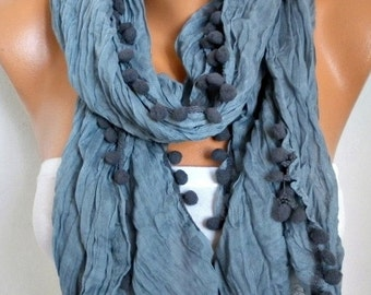 Gray Pompom Scarf Christmas Gift Shawl Scarf Cowl Gift Ideas For Her Women Fashion Accessories Scarves
