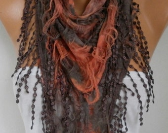 Brown & Orange Butterfly Scarf, Halloween,Fall Scarf, Fringe Scarf Cowl, Gift Ideas For Her Women's Fashion Accessories, best selling item