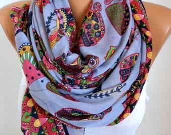 Owl,Bird,Cat Cotton Soft Scarf, Summer Scarf,Pareo, Oversized Scarf, Cowl Scarf, Shawl, Gift Ideas For Her, Women Fashion Accessories