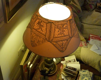 Antique heavy lace lampshade cover