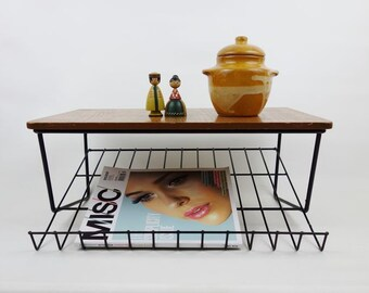 Vintage Mid Century String Wall Shelf Black with Teak Plate and Book or Magazines Rack