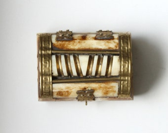 Vintage Carved Bone and Brass Jewelry Box Rustic