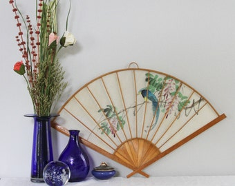 Vintage Asian Wall Hanging Fan - Linen and Bamboo Asian Wall Hanging