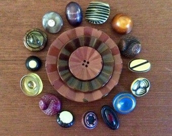 15 Small Celluloid Buttons with 3 nesting buttons, painted