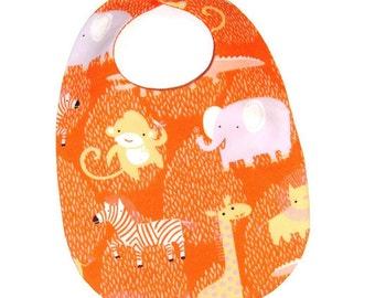 Baby Bib - Zoo Animals on Tangerine - Organic Cotton Baby Bib - Baby Gift Under 10