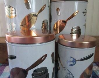 Metal Canister Set, Vintage Kitchen Storage, Weibro USA, Kitchen Utensils,