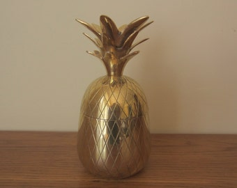 Brass pineapple lidded box.  Hollywood Regency style brass pineapple.  6.5 inch brass pineapple box.