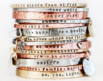 Gift for Her / Graduation Gift / Power Phrase Bangle / Travel Gift / Gift for Her / Inspirational Bracelet / Empowering Jewelry /For Her