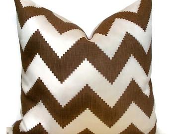 Kravet Brown Pillow Kravet Limitless Cocoa Pillow Cover Brown Chevron Decorative Pillow Cover Zig Zag Kravet