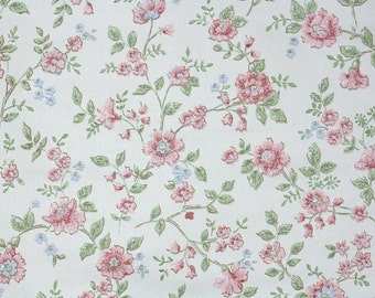 Retro Wallpaper by the Yard 70s Vintage Wallpaper - 1970s Pink and Blue Flowers