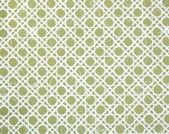 Retro Wallpaper by the Yard 70s Vintage Wallpaper - 1970s Vinyl Green and White Lattice Geometric
