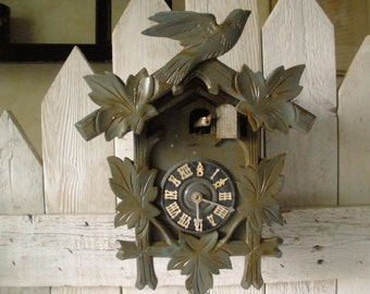 Vintage cuckoo clock gray green painted wood kitschy cool woodland