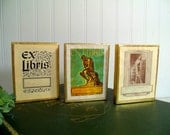 Vintage Antioch Bookplates Collection of 3 Popular Designs - Classic Ex Libris, The Thinker, The Bookworm Parchment Sets In Original Boxes