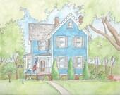 custom house watercolor, gift, home portrait