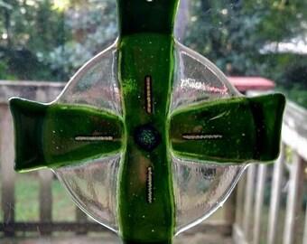Celtic Cross Sun Catcher with Emerald green dichroic Enhancement