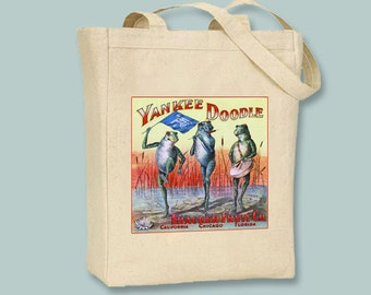 Yankee Doodle Fruit Company Crate Label with Charming Frogs, Black or Neutral Canvas Tote  -- selection of sizes available