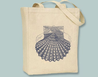 Vintage Fan Seashell lllustration Canvas Tote --Selection of sizes available, Image in ANY COLOR