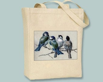 Lovely Vintage Bluebirds on Black or Natural Canvas Tote  - selection of sizes available