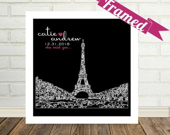 Personalized Gift City Syline Art Skyline Print Framed Paris Skyline Any City Available  Wedding Gifts for Couple Engagement Gifts