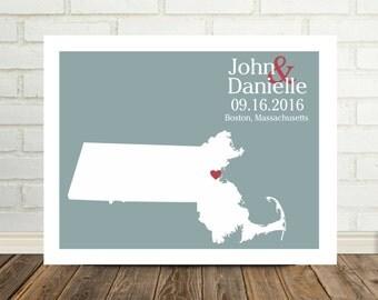 Massachusetts Map Wedding Gift Massachusetts Print Massachusetts Poster State Map Custom Wedding Gift for Bride to Be Valentines Day Gift
