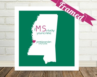 MISSISSIPPI Map Print Wedding Gift Personalized FRAMED Art Gift for Couple Engagement Gift Valentines Day Gift