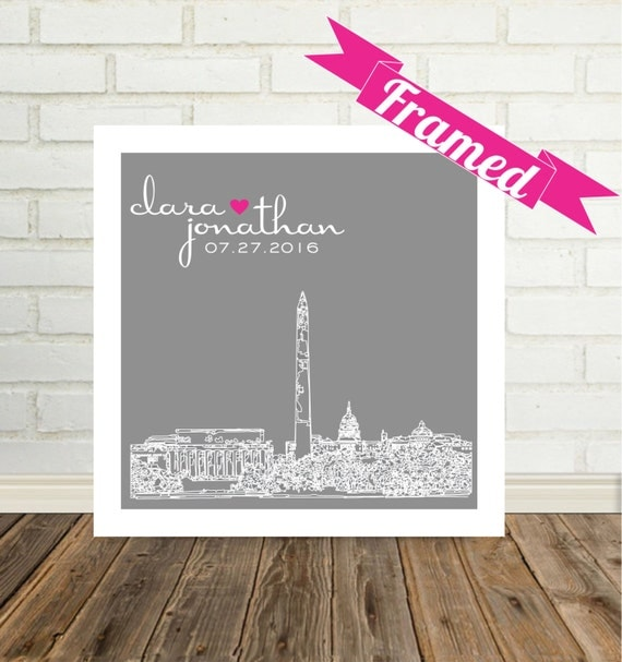 Wedding Gift FRAMED ART City Skyline Personalized Print  Any Location Worldwide Unique Wedding Gift Engagement Gift Valentines Day Gift