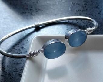 BRACELET : Natural Rock Candy Collection. Light Blue Chalcedony  Double Stations  .925 Sterling Silver Overlay Open Bracelet