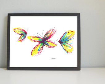 BUTTERFLIES Art print, watercolor painting, handmade, wall decor, wall art