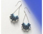 V shape Crystal Drop Earrings / Blue and Silver tone Drop Earrings / Swarovski Crystal earrings