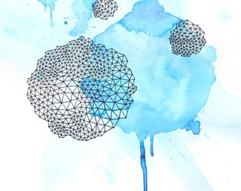 INVOCATION #2  abstract watercolor art print in bright baby blue and geometric lines