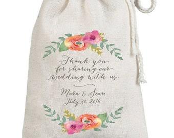 Watercolor Florals Thank You Custom Wedding Favor Bags - Guest Bags -  Muslin Favor Sack