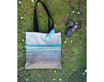 Beach Tote Bag, Yoga Bag, Back to School Book Bag, Pacific Ocean San Diego California Beach Scene, Small & Large Sizes Available