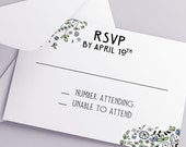 Printable Wedding RSVP Download 'Floral' // DIY template // Word Mac or PC // 5 x 3.5 // Change artwork colour // Luxury Design
