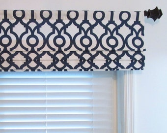 faux roman shade lined mock valance geometric print navy. Black Bedroom Furniture Sets. Home Design Ideas