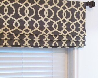 Custom Faux Roman Shade Magnolia Home Fashions Charcoal/Gray Moroccan Trellis  Mock Valance